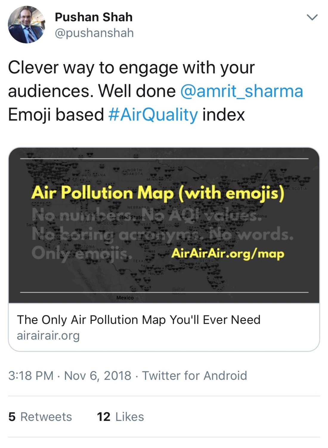 Emoji Map for Air Pollution – Air Quality in India